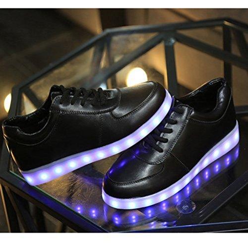 (Present:kleines Handtuch)JUNGLEST® Unisex Damen Herren USB-Lade LED leuchten Sportschuhe Blink Luminous Fashion Sneakers für H Schwarz