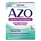 AZO Urinary Tract Defense, Antibacterial Urinary Tract Pain Relief Dietary Supplement, Helps Control The Infection Plus General Pain Relief, Methenamine, Sodium Salicylate Analgesic, 24 Count