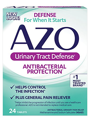 AZO Urinary Tract Defense  Antibacterial Protection  Helps Control the Infection  Plus General Pain Reliever  24 Tablets (Packaging may vary)