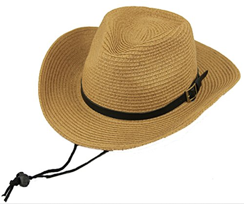 (Men's Floppy Packable Straw Hat Beach Cap Classic Western Newsboy Cap Fedora Hat UPF 50+ Roll Up Foldable Large Brim Outback Sun Hat with Adjustable Chin Cord Strap Outdoor Fishing Cap Safari Hat)