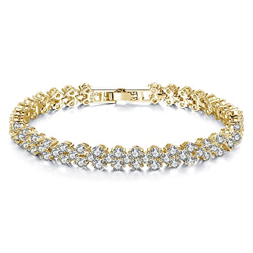Cyntan Rhinestone Crystal Tennis Bracelet for Girls Women Wedding (Gold # 1)