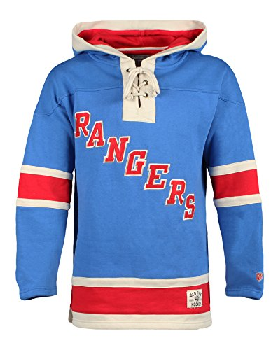 Old Time Hockey NHL New York Rangers Men's Lacer Heavyweight Hoodie, Large, Royal