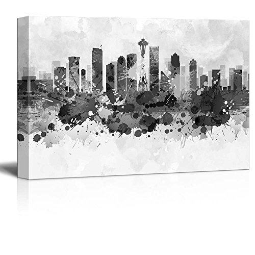 wall26 - Black and White City of Seattle with Watercolor Splotches - Canvas Art Home Decor - 24x36 inches ()