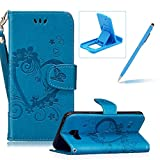 PU Leather Case For Samsung Galaxy A5 2016,Strap Magnetic Wallet Folio Cover for Samsung Galaxy A5 2016,Herzzer Elegant Slim Blue [Love Hearts Flower Embossed] Stand Phone Case
