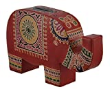 Colorful Elephant Trunk Up Embossed Leather Coin Bank Piggy Bank (Orange)