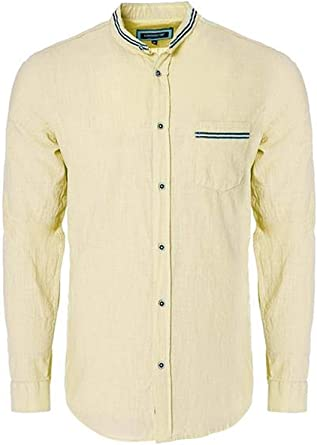 Carisma CRM8489 - Camisa de lino, cuello alto, color amarillo: Amazon.es: Ropa y accesorios