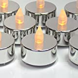 Silver Tealight Candles - Set of 12 LED Flameless Metallic Candles with Flickering Flame - 25th Wedding Anniversary - Silver Wedding Decorations - Graduation Parties - No Flame Candles