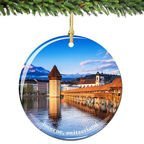 City-Souvenirs Lucerne Switzerland Christmas Ornament, Porcelain 2.75 Inch Swiss Christmas Ornaments