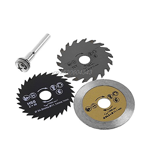Price comparison product image NJPOWER 3 Pcs Circular Saw Blade Cutting Disc HSS Cutter Disc Shank for Mini Drill Tools Wood Drills Tools Out Diameter 54.8mm R06