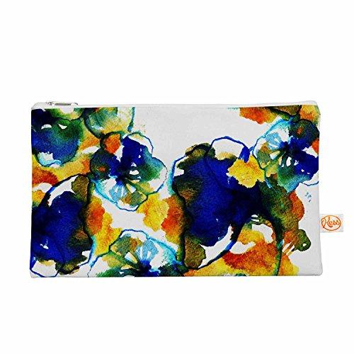 Kess eigene 12,5x 21,6cm Sonal Nathwani Blau Orange Floral Alles Tasche–abstrakte Watercolor