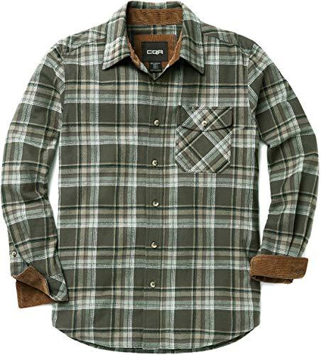 Field Shirt - CQR Men's Flannel Long Sleeved Button-Up Plaid All Cotton Brushed Shirt, Plaid(hof110) - Juniper, 2X-Large