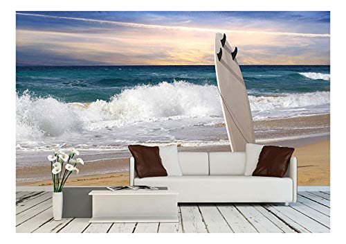wall26 - Surfboard on Fuerteventura Beach - Removable Wall Mural | Self-Adhesive Large Wallpaper - 100x144 inches