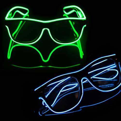 Blazing Fun El Wire Glow Glasses Led DJ Bright Light Safety Light Up Multicolor led Flashing Glasses with 4 Modes for Halloween Christmas Birthday Party (Blue+Lemon Green) -