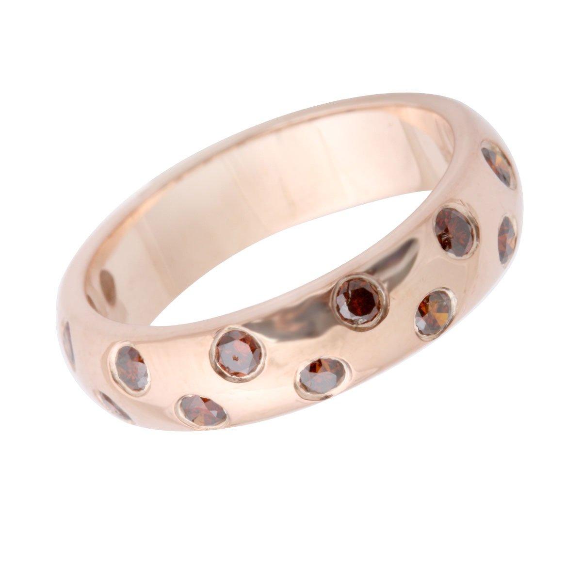 Goldenstar 0.50Ct 925 Sterling Silver Fancy Band Cognac Diamond Ring