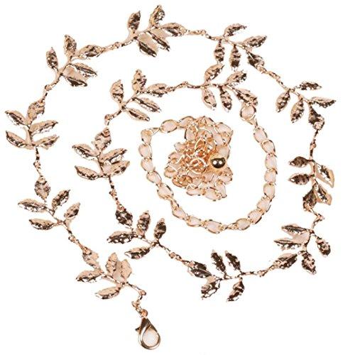 Binmer(TM) Women Lady Fashion Metal Leaves Belt Alloy Leaf Waistbelt Chain (Gold (Ladies Metal Chain Belt)