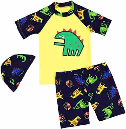 00e64914f8 SERAIALDA Baby Kids Boys Two Pieces Short Sleeve Swimwear Dinosaur Print Rash  Guard Sun Protection Swimsuit