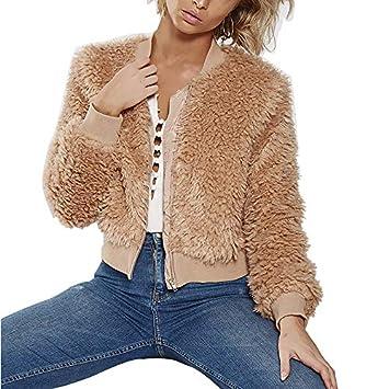 LanLan Abrigo Suave de la Felpa del Color sólido para Las Mujeres, Abrigo de Invierno o otoño de la Moda para Las Mujeres 2018 últimos Modelos XL Caqui: ...