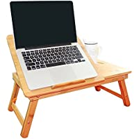 LS Laptop Desk Super Top Laptop Table with Real Fan 100% Bamboo Desk Adjustable with USB Fan2 Foldable Breakfast Serving Bed Tray Drawer