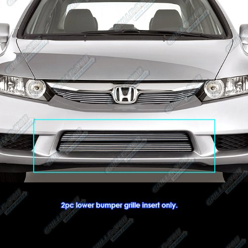 Honda Civic Billet Grilles - APS Fits 2009-2011 Honda Civic Sedan/Hybrid Lower Bumper Billet Grill #N19-A86766H