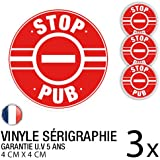 Lot de 3 autocollants / stickers Stop Pub