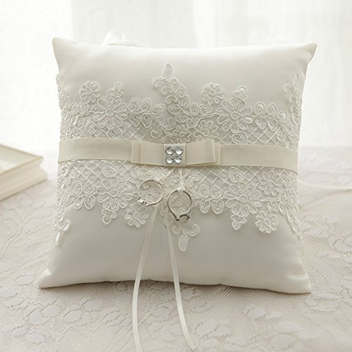 WoodBury Wedding Ring Bearer Pillow Appliques Satin Bow Ivory 8 Inch x 8 Inch