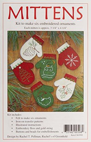 Rachel's Of Greenfield Mittens Ornament Kit-Set of Six