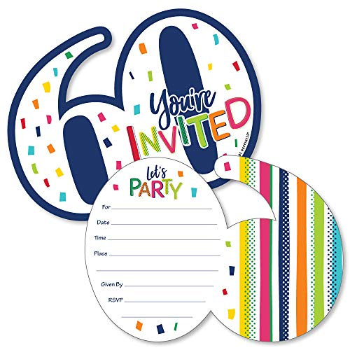 (60th Birthday - Cheerful Happy Birthday - Shaped Fill-In Invitations - Colorful Sixtieth Birthday Party Invitation Cards with Envelopes - Set of)