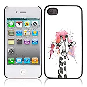 Cute Giraffe Animal Hard Plastic and Aluminum Back Case for Apple iphone 4 4S