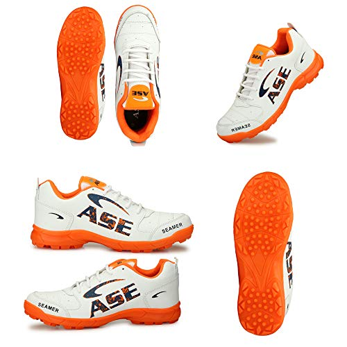 ASE PRO White-Orange Professional Cricket Shoes for Men