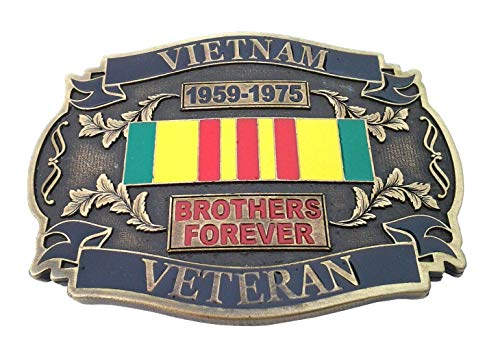 (Vietnam Veteran 1959-1975 Brothers Forever Belt Buckle Made in USA Brass 136 MT)