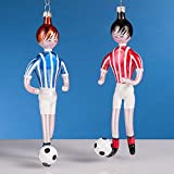 De Carlini Set of Two Soccer Players Italian Mouthblown Christmas Ornament