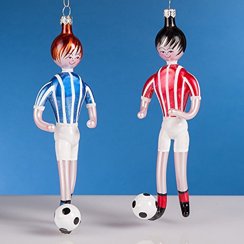 De Carlini Set of Two Soccer Players Italian Mouthblown Christmas Ornament by De Carlini Christmas Ornaments
