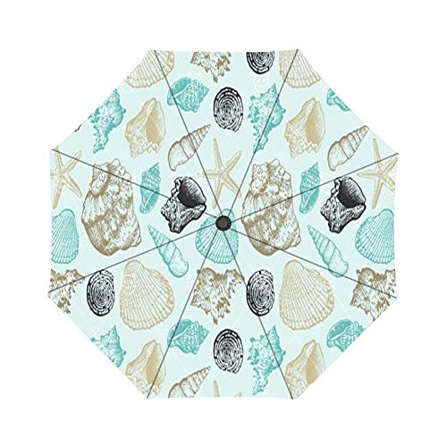 - Sea Shells Pattern Pattern Windproof Compact One Hand Auto Open and Close Folding Umbrella, Compact Travel Umbrella Folding Rain Outdoor Umbrellas
