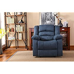 NHI Express Addison Large Contemporary Mocha Microfiber Recliner, Blue,72008-91BL