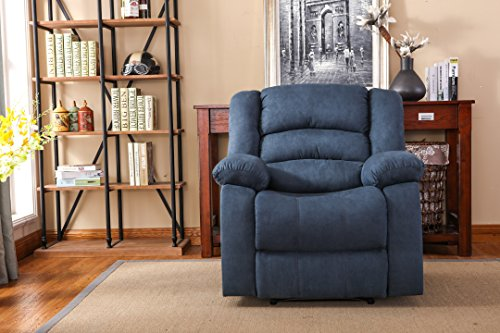 Contemporary Recliner (NHI Express Addison Large Contemporary Mocha Microfiber Recliner, Blue)