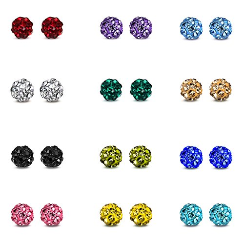 Rhinestone Crystal Round Stud (JewelrieShop Rhinestone Crystal Ball Stud Earrings Fireball Stud Earrings Birthstone Stud Earrings Assorted Colors Set Unisex (01. 12 Pairs, 4mm))