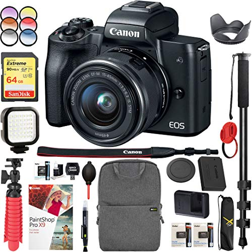 Canon EOS M50 Mirrorless Camera with 4K Video and EF-M 15-45mm Lens Kit (Black) Bundle with Backpack Monopod SanDisk 64GB SDXC Memory Card and Battery Kit