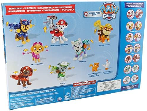 PAW PATROL Box 9 Figure Action Pack Pups EDIZIONE SPECIALE Limitata METALLIC Everest Cali Chickaletta etc. ORIGINALE Spin Master