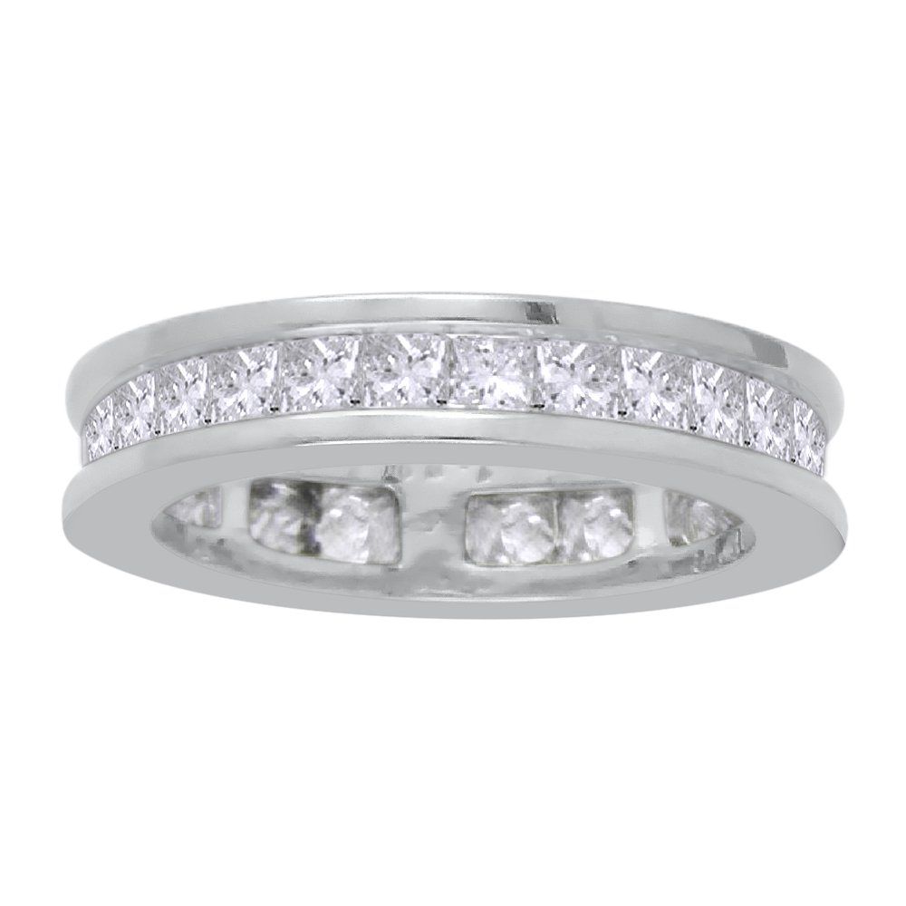 Princess Cut Diamond Eternity Wedding Band in Sterling Silver (2 1/10 cttw)(Color-GH, Clarity-VSSI) (Size-8.5)