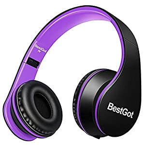 BestGot Headphones Over Ear with microphone for kids adult In-line Volume with Transport Waterproof Bag Foldable Headphone with 3.5mm plug removable cord (Black/Purple)