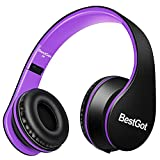 BestGot Kids Headphones Girls Boys Over Ear with Microphone for Kids Adult in-line Volume with Transport Waterproof Bag Foldable Headphone with 3.5mm Plug Removable Cord (Black/Purple)