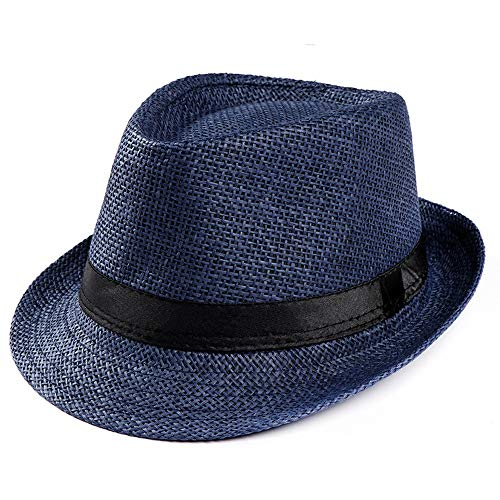 Forthery Unisex Panama Hat Wide Brim Straw Roll Up Fedora Summer Beach Sun Hat UPF 50+ Ivory White(Navy)