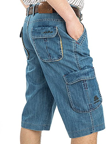 Kedera Men's Rugged Wear Relaxed Fit Capri Denim Short Pants (Light Blue, Large) (Shorts 569 Jean Straight Loose)