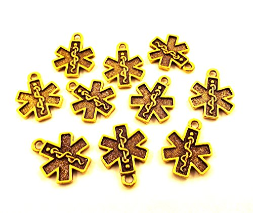 Pewter Cross Charms (Set of Ten (10) Gold Tone Pewter EMS/EMT Cross Charms 5042)