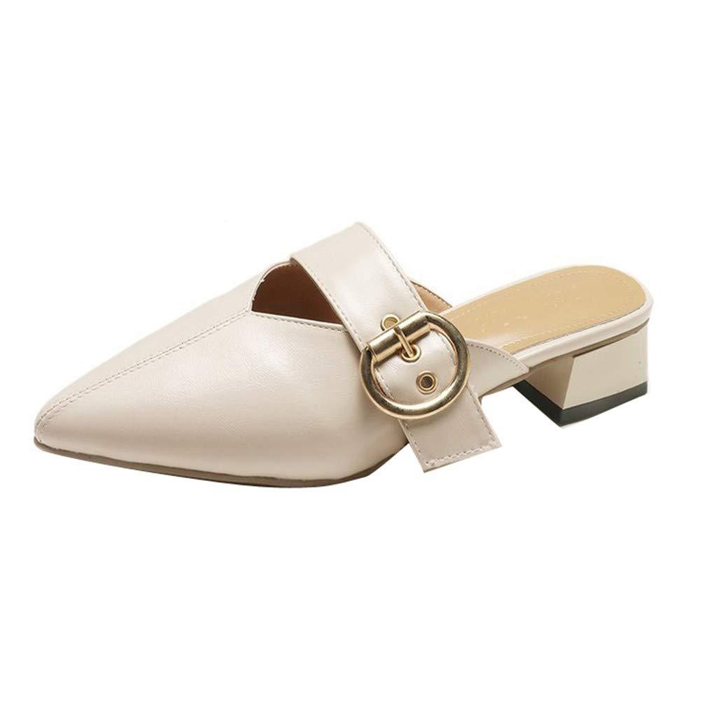 YUCH Pantoufles Sandales Et Pantoufles pour Chaussures Femmes Femmes Bout Pointu Travail Chaussures Paresseux Mi 0e33bb8 - robotanarchy.space