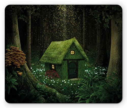 Ambesonne Fantasy Mouse Pad, Surreal Little Forest House in Moss Enchanted Woodland with Elves Design, Standard Size Rectangle Non-Slip Rubber Mousepad, Army and Hunter Green