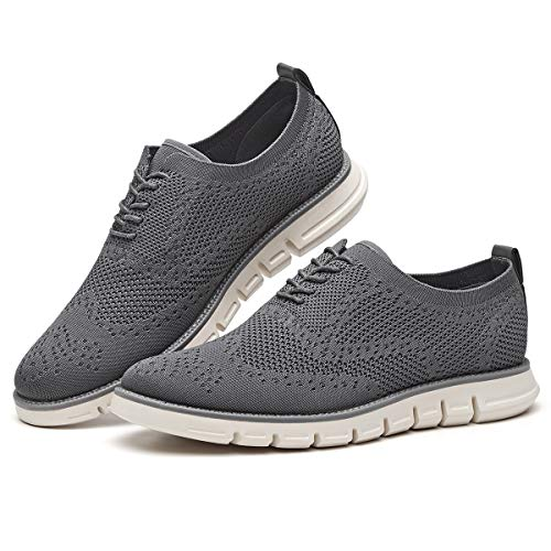 Men's Oxford Sneaker Flyknit Wingtip-Classic Lace Up Casual Shoes Delicate Cancellate Knitting Upper Grey 10