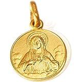 Sacré-Cœur de Marie. médaillon / collier / pendentif médaillon en or 14K / 585 1.5 g, 12x18mm