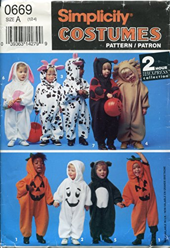 Simplicity Costumes Pattern 0669 ~ Toddler Pumpkin, Cow, Bunny Ladybug, Ghost, Bear, Lion ~ Size A (Halloween Face Painting Designs Ghost)