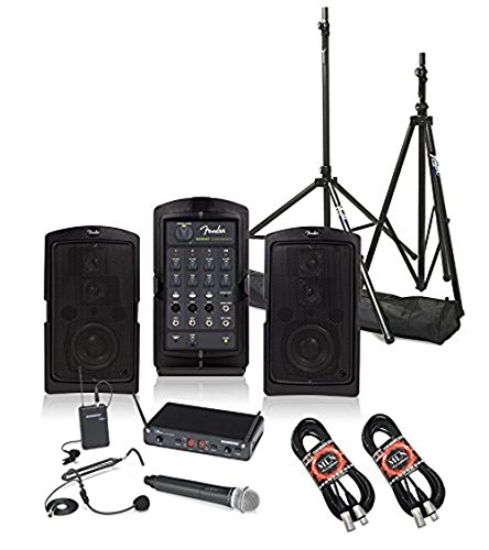 Fender Passport Conference Portable PA System Bundle with Samson Concert 288 All-In-One Dual-Channel Wireless System and Accessories - Portable PA System